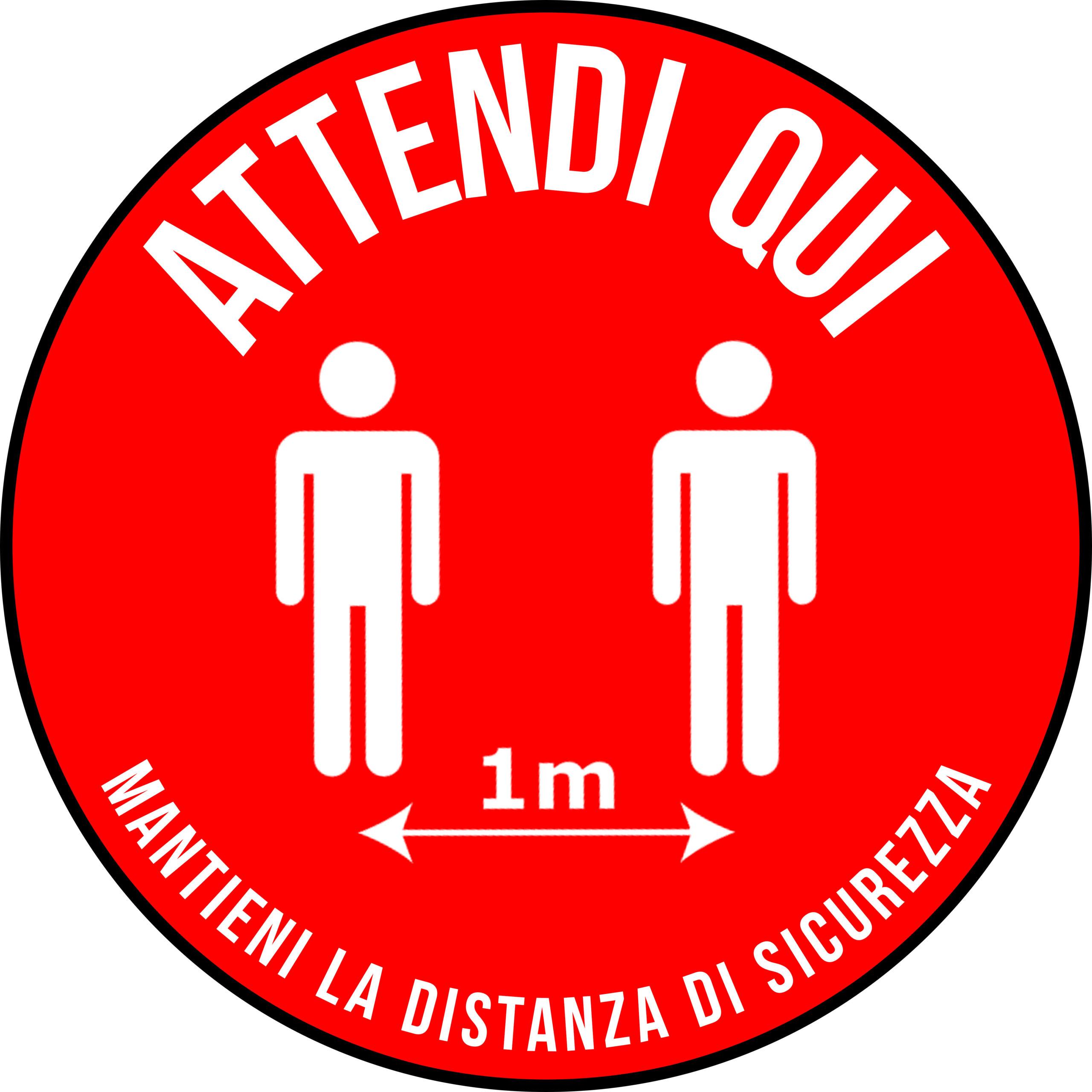 Adesivo - Attendi Qui Distanza - Cerchio Rosso