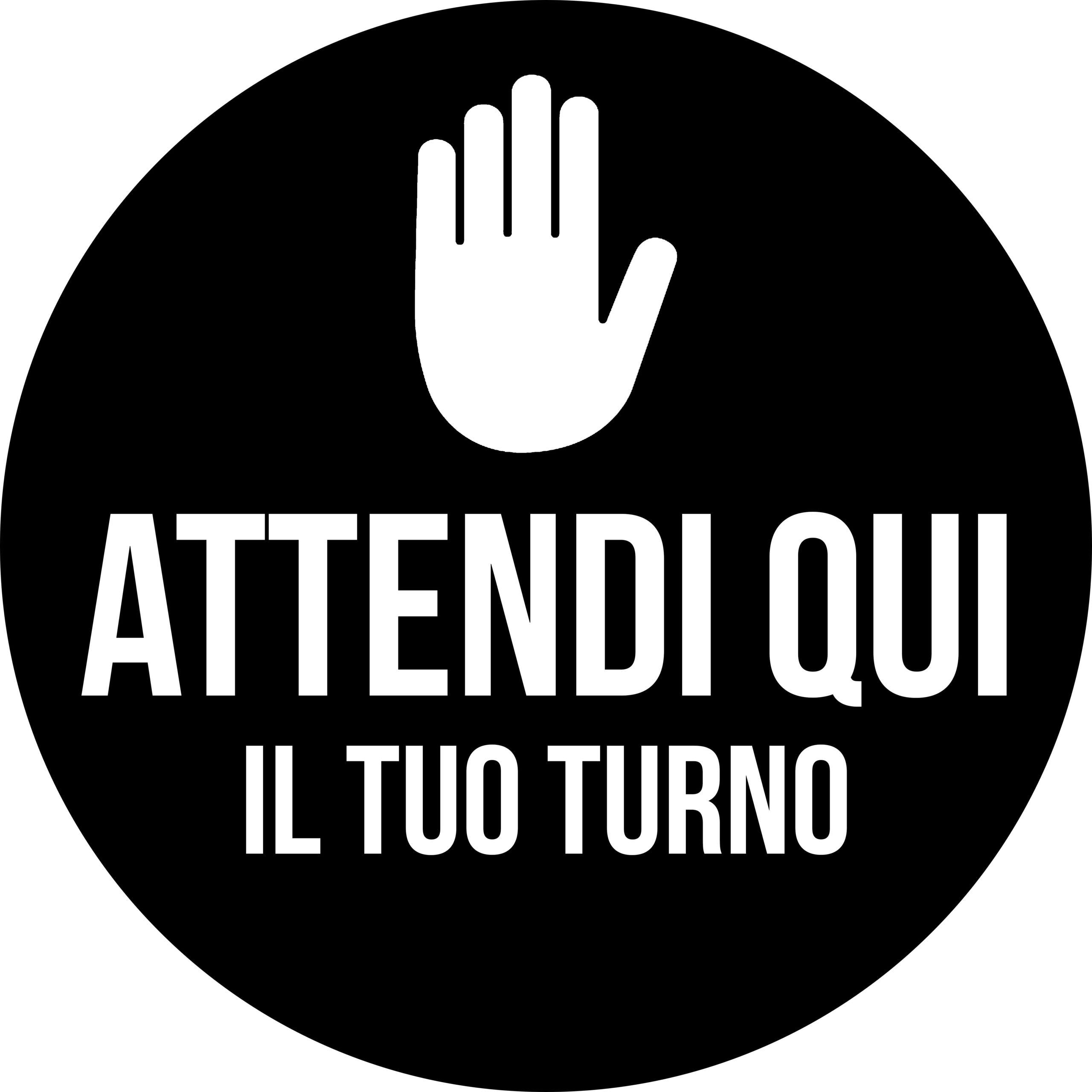 Adesivo Tondo - Attendi il tuo turno Nero
