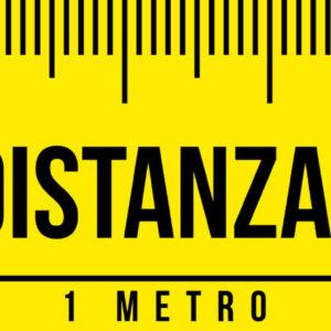 Adesivo Striscia - Metro - Rispetta la distanza di sicurezza