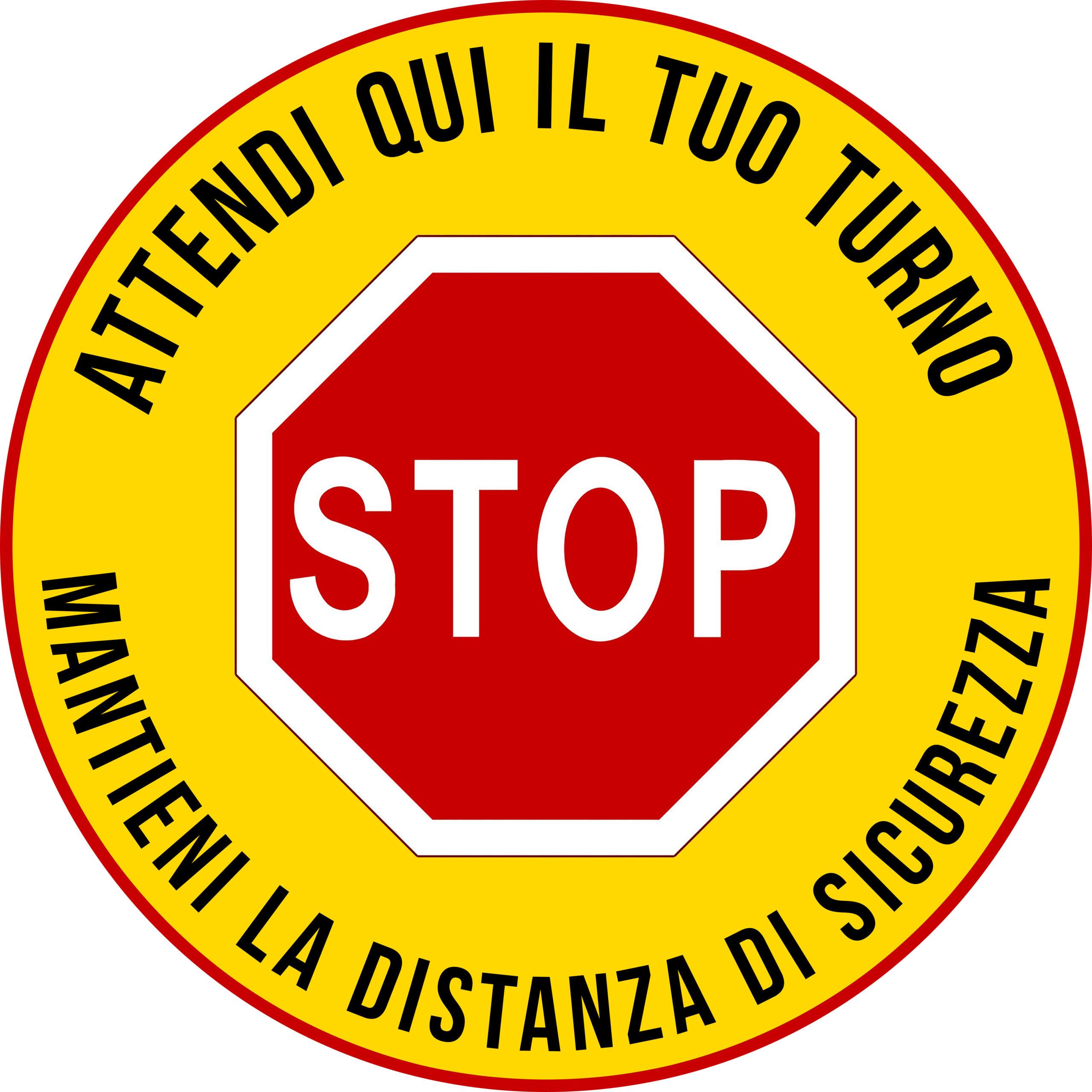 Adesivo -Stop – Atttendi qui il tuo turno – Mantieni la distanza di sicurezza